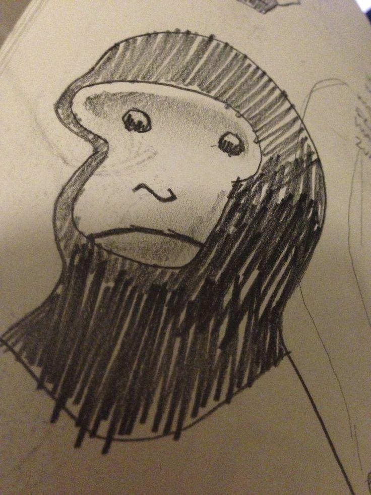 Worried Monkey pencil sketch