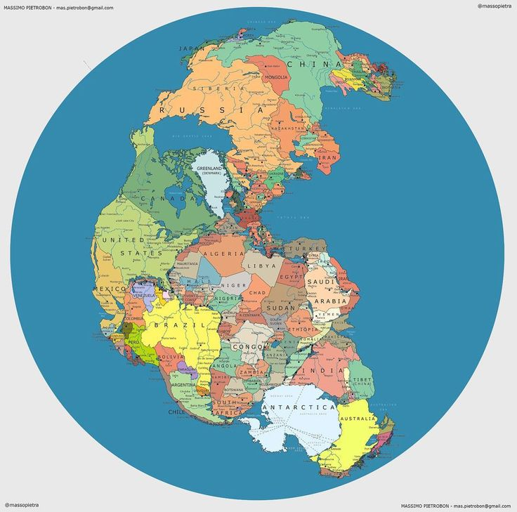 Heres what the world have looked like about 300 million years ago but with todays political borders. (Pangea Politica Massimo Pietrobon) (via @qikipedia)
