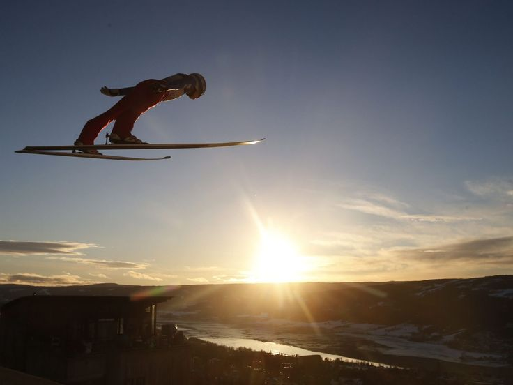 Johann Andre Forfang of Norway is airborne during the Men's HS138 competition at the Ski Jumping World Cup in Lillehammer, Norway.  Cornelius Poppe, EPA