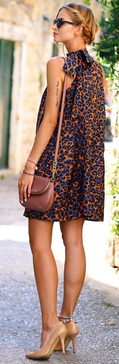 #fall #street #style | Orange Leopard Dress
