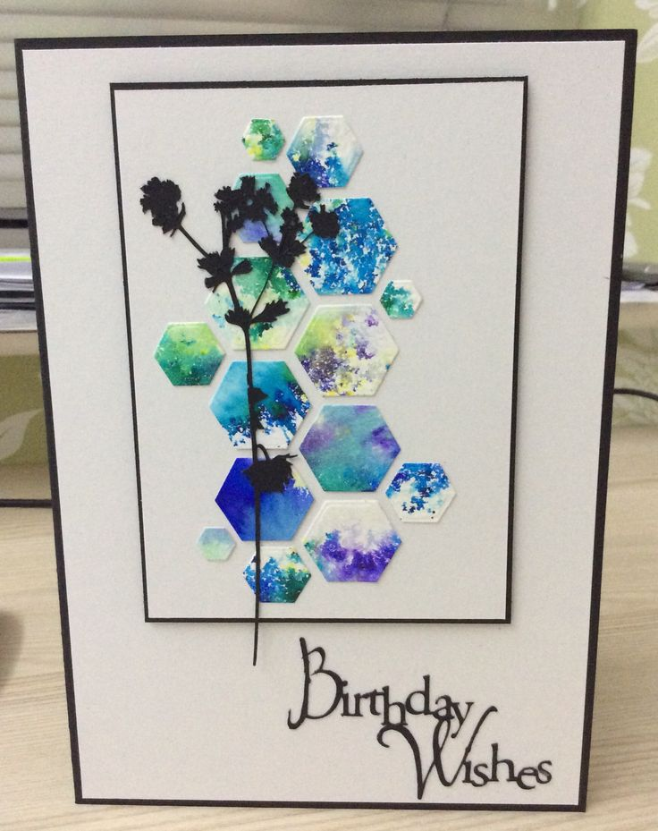 Card made using Brusho inks and die cut using a hexagon die Uploaded by Daisy