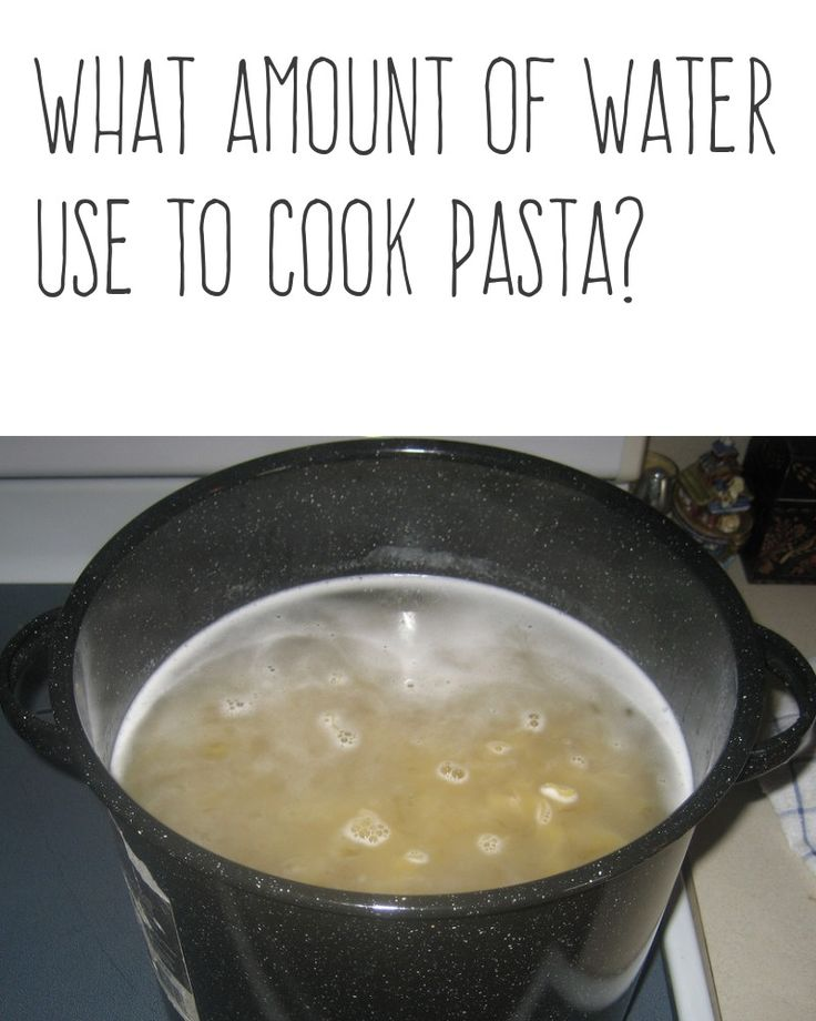 What amount of water use to cook pasta?   Use plenty of water and a large pot when boiling pasta or potatoes. If you don't the water becomes too starchy.   More cooking tips and hacks https://happyforks.com/hack/290