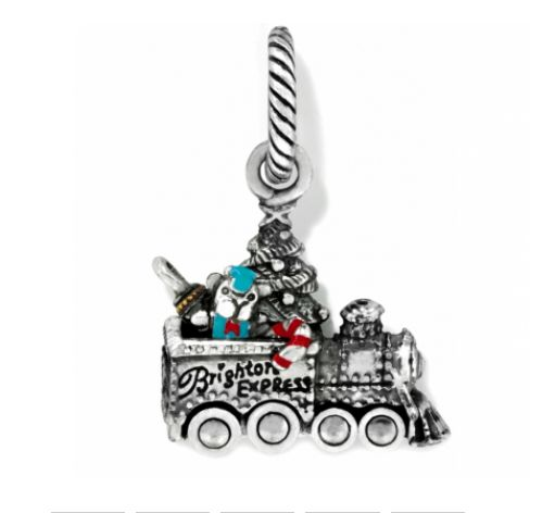 All Aboard! This tiny train, aka The Brighton Express, will find the fast track to your heart. A Christmas tree, teddy bear and candy cane are the cheery cargo in this cute holiday charm!