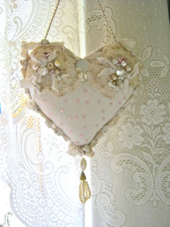 heart pillow- pretty- shabby chic pillow- romantic heart pillow