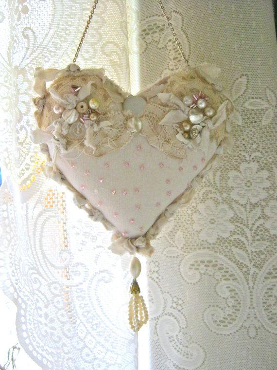 SOLD, heart pillow- pretty- shabby chic pillow- romantic heart pillow- fiber art- frayed edges- pearls and buttons