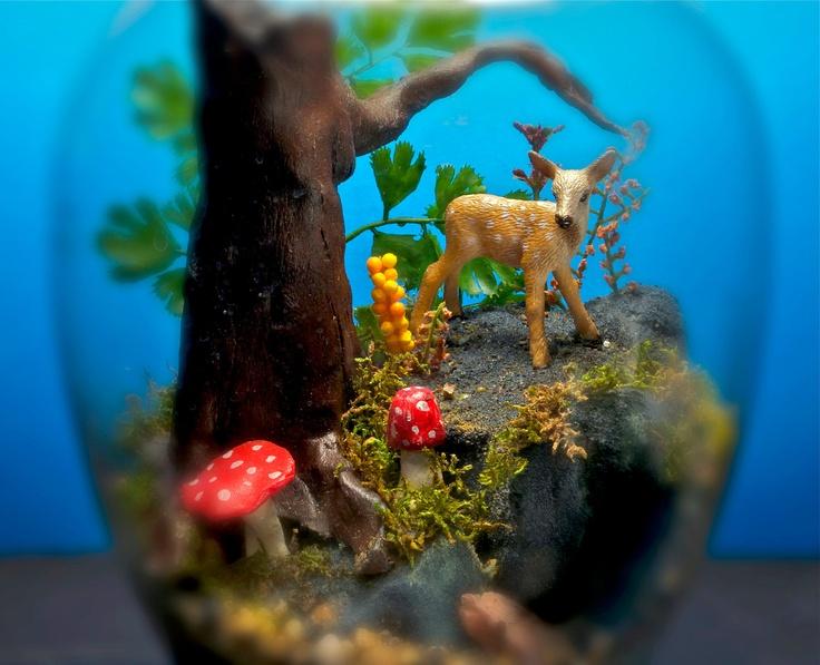 Playful Fawn - Mini Zen Garden - Terrarium / Diorama.