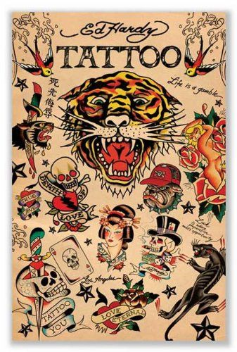 Amazon.com: Ed Hardy Collage Poster Art Print: Tattoo Poster: Posters &…