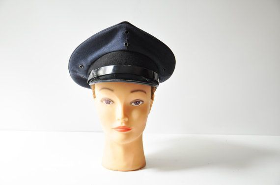 Vintage Blue Military Hat  Navy  Air Force  by thelittlebiker