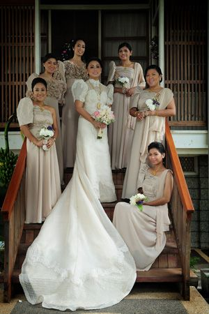 The bride, groom and the entourage wore traditional gowns and barongs for the wedding.