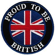 """PROUD TO BE BRITISH Union Jack UK GB Flag Sew On Iron On Embroidered Patch 3"""""""
