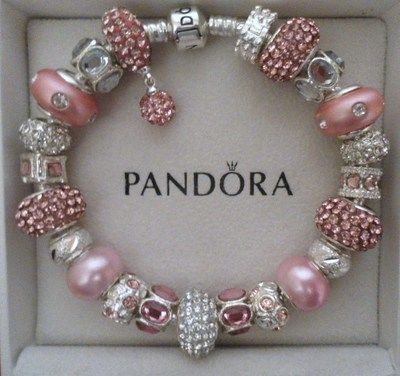 """Pandora Bracelet Silver 8 3 with Charms """"Pink Champagne"""" 