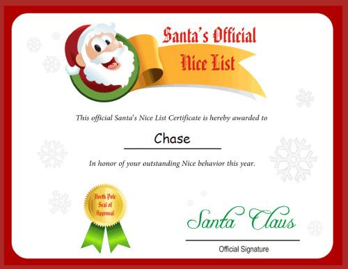 The printable Santa's Nice List from Free Letter from Santa Claus.net. The certificate is an upgrade and isn't included with the free low-resolution letters.