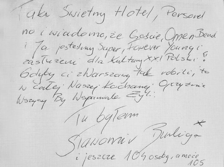 Wpis jednego z Gości z ostatniego wesela w Hotelu Lenart w Wieliczce