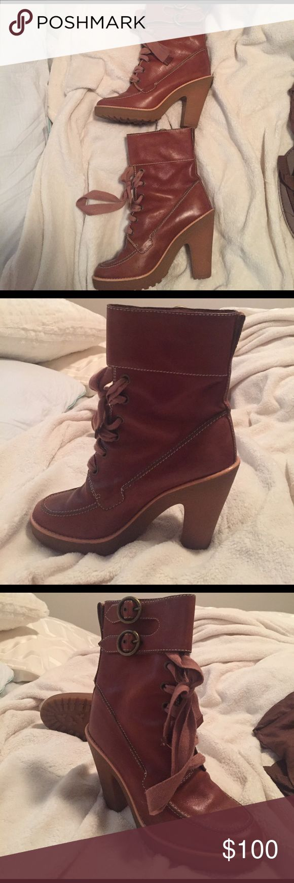 Marc Jacobs lace up heeled boots Tan colored combat boot style- have a good sized heel on them. Barely worn! Marc Jacobs Shoes Combat & Moto Boots