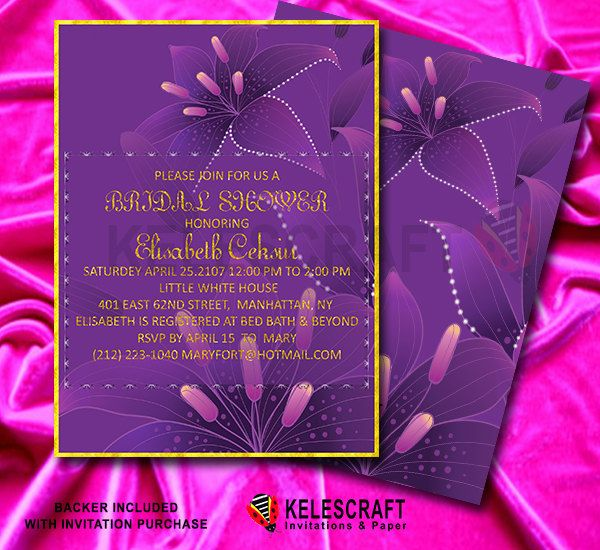 Purple Lily Bridal Shower Invitation with Gold Frame Pruple Flowers  Plum Color Invitation Invite Bridesmaid Bride Shower  DiY Printable by KelesCraft on Etsy