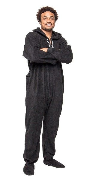 Footed Black to Sleep, One Piece Sleepwear, Footie Mens PJs, Womens Adult Onesies