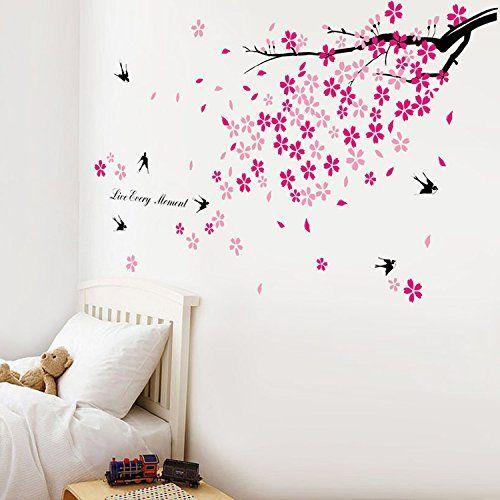 walplus stickers muraux fleurs roses hirondelles d cor pour chambre d 39 enfants walplus swallow. Black Bedroom Furniture Sets. Home Design Ideas