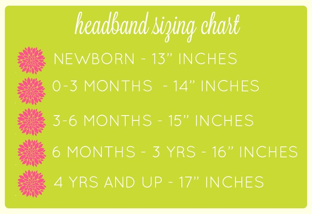 Headband making - Size chart for FOE headbands