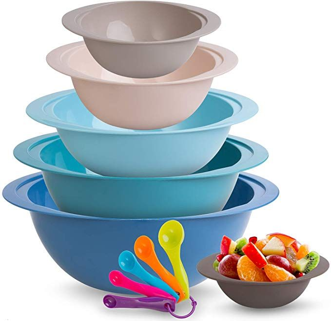 Plastic Mixing Bowl Set A 6 Stackable Nesting Bowls 5 Measuring Spoons For Cooking Plastic Mixing Bowls Mixing Bowls Set Bowl
