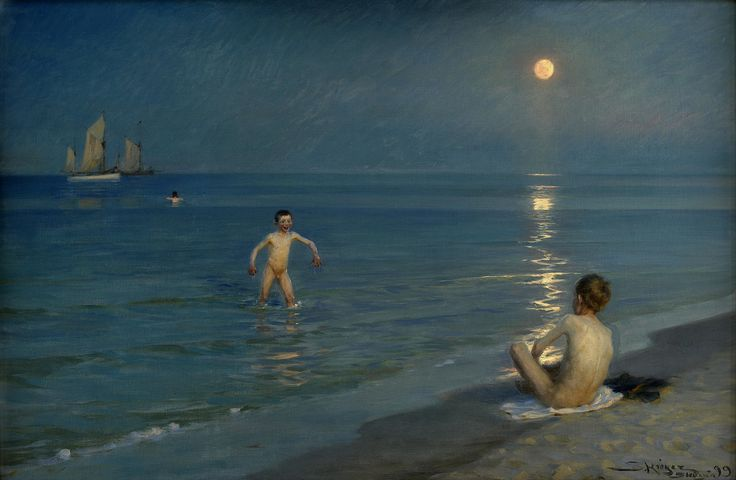 """Boys Bathing at Skagen, Summer Evening"" by Peder Severin Kroyer, 1899"