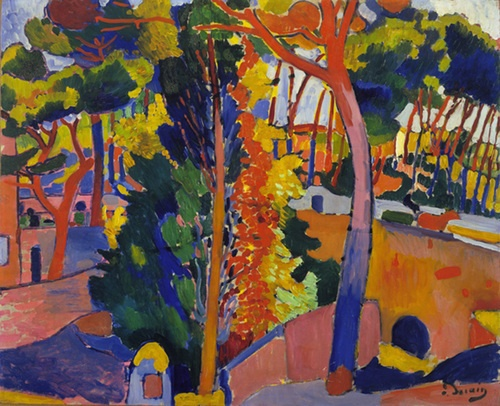 In 1905 Derain and his peers in the Fauvist group had created a succés de scandale through their radical use of color, but they still accepted from Impressionism the idea that a painting should follow nature, and should try to capture the passing moment of contemporary life.