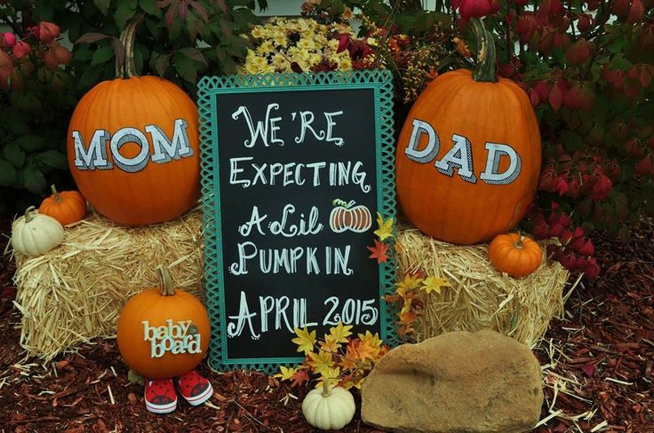 Our fall baby announcement. Our first baby due April 2015 and we couldn't be more excited! We used chalk paint for the board and scrapbook stickers for the pumpkins. Pregnancy announcement. Fall ideas.