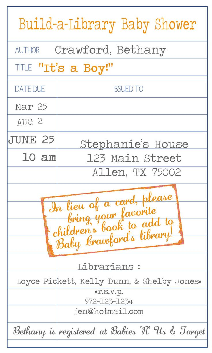 Build-a-Library Baby Shower Invitations - Set of 25. $25.00, via Etsy.