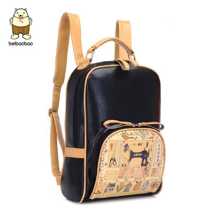 Korean style fashion bookbag women printing backpack brand cute backpacks designer high quality pu school bags for teenage girls