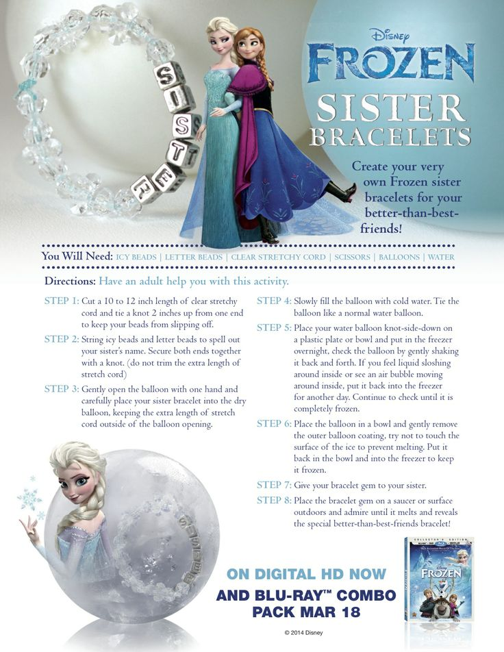 Create your very own Frozen sister bracelets.