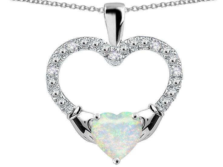 Star K Hands Holding Heart Simulated Opal Claddagh Pendant Necklace