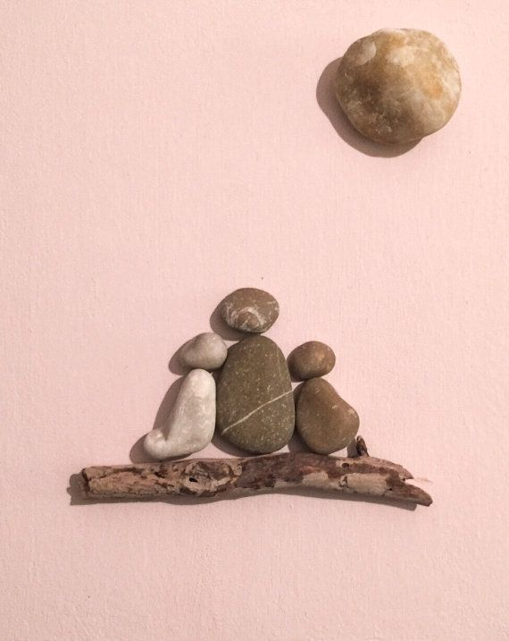 Stone people-Mother with children by LiseStones on Etsy