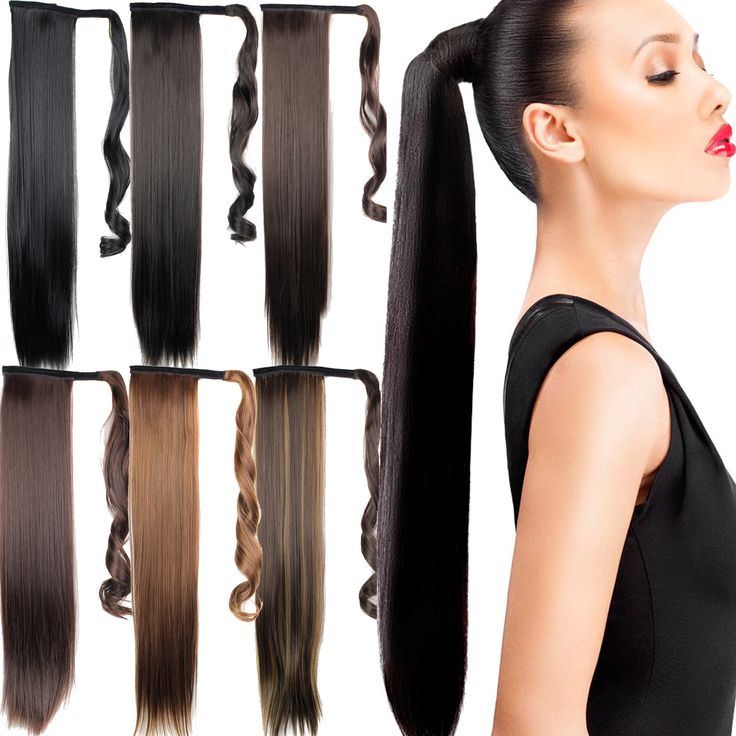Black Synthetic Long Straight Clip In Ribbon Ponytail Hair Extension Hairpiece My Little Pony Tail Pieces 15 Colors Professional Makeup Brush Set
