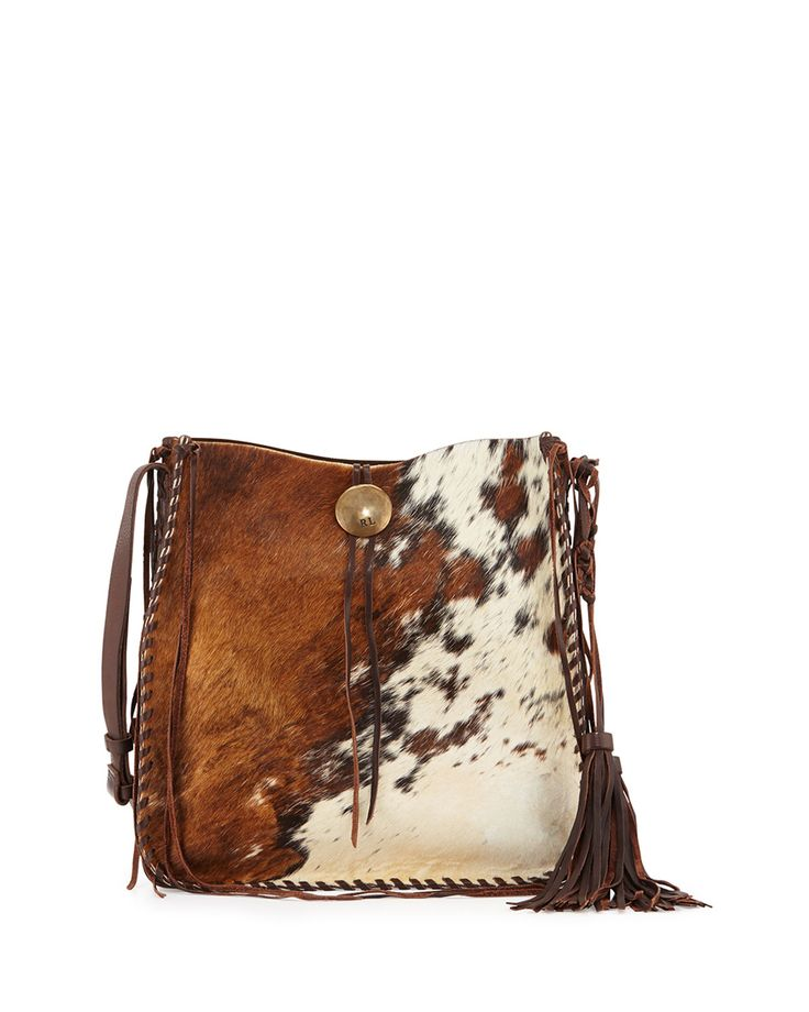 Ralph Lauren Artisinal Calf Hair Tassel Hobo Bag