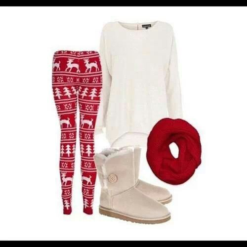 reindeer leggings,  white shirt, fuzzy boots, and a red scarf - I love it!!!