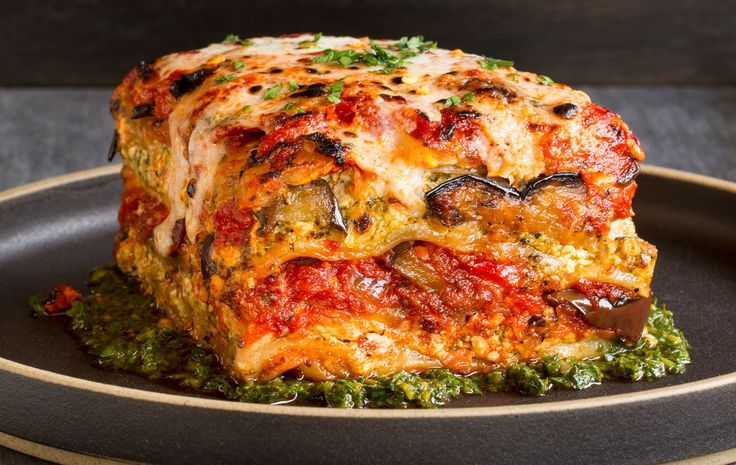 You won't miss the meat in this amazing #vegan lasagna, which gets its flavor and texture from roasted veggies, zesty pesto and a robust red sauce.