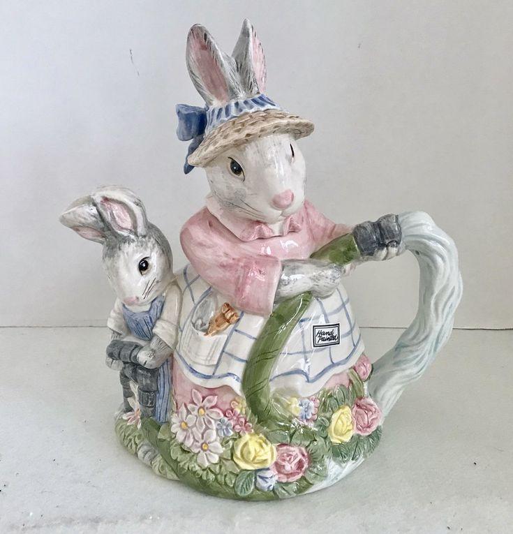 Fitz and Floyd 1989 Bunny Hollow Mother & Son Bunny Rabbit 30 Oz Teapot