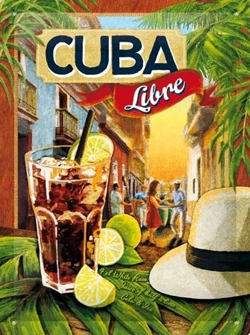 METALEN BORDEN : Cuba Libre S gebold 3D metalen wandplaat