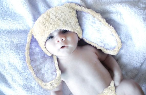 SUMMER SALE* Baby handmade crochet baby bunny hat in cream with white inner ears. Handmade with love by Babamoon - size 3 to 6m - Shop Now!  Use code BABACIJ20 to save 20% (Sale Ends July 11)