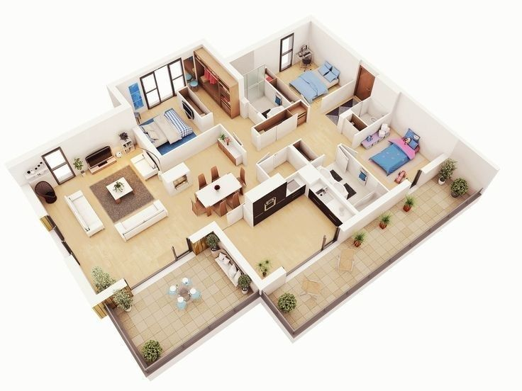Amazing 3d Floor Plans For You Engineering Basic 3d House Plans Bedroom House Plans Modern House Plan