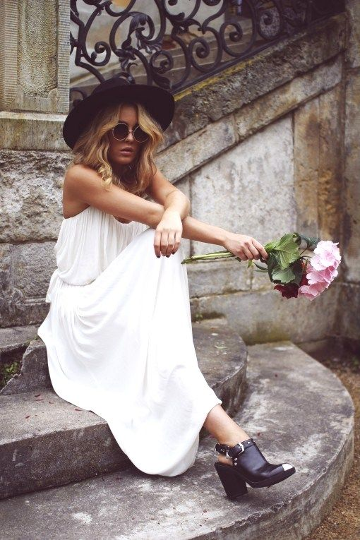 white maxi dress, black hat, flowers, sunnies