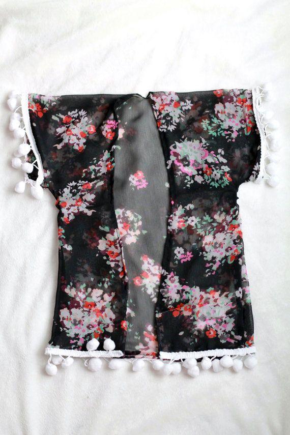 Black Floral Toddler Kimono Cardigan