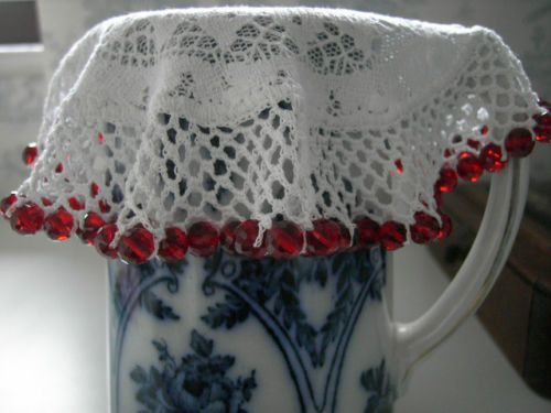 JUG COVER - Crochet beaded doily - red crystal cut glass beads 8mm - Christmas