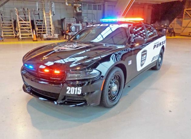 Fully equipped 2015 Dodge Charger Pursuit police vehicle.