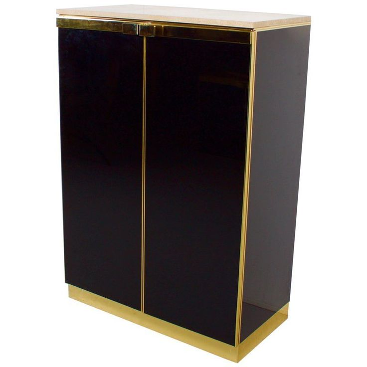 1970s Brass, Travertine And Black Lacquered Maison Jansen Cabinet photo 1