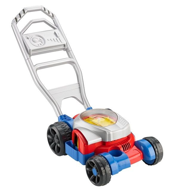 "Fisher Price Bubble Lawn Mower -The Fisher Price Bubble Lawn Mower has realistic sounds and blows bubbles while ""mowing"""