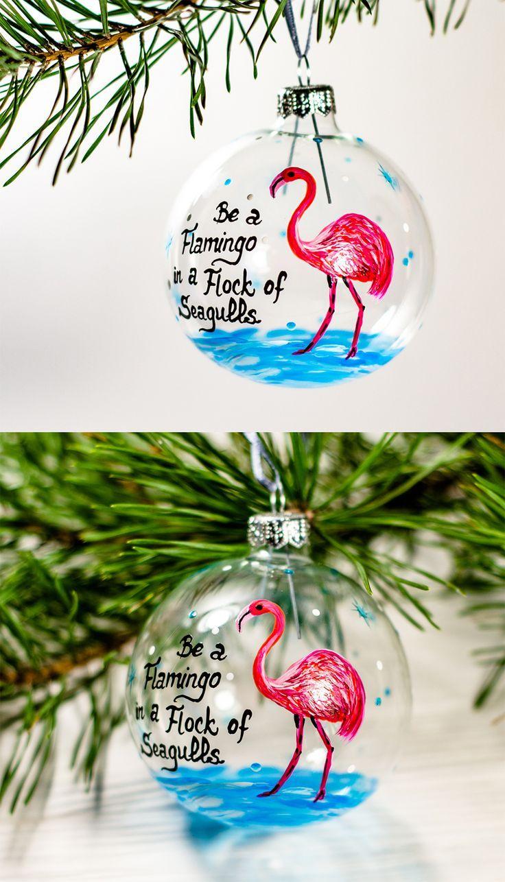 Christmas Decoration Flamingo Ornament Glass Christmas Bauble Personalized Custom Text Christmas O Hand Painted Gifts Glass Christmas Baubles Flamingo Ornament