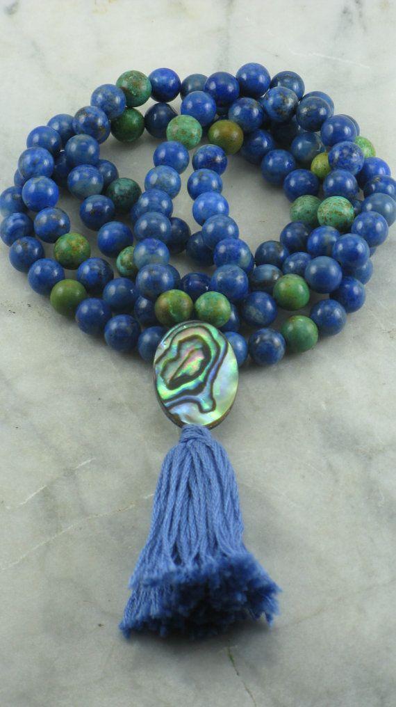 Shanti Mala - Lapis, Turquoise, and Paua Shell - 108 Mala Beads, Buddhist Prayer Beads, Meditation, Truth