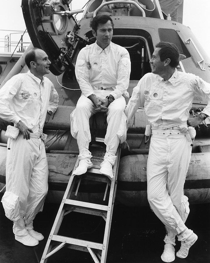 """45 YEARS AGO DAY: Apollo 16 astronauts Charlie Duke (left), John Young, and Ken Mattingly aboard the recovery training ship """"Retriever"""" on March 22, 1972. Which pic do they use for the album cover?"""