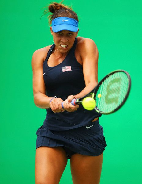 Madison Keys of the United States plays a backhand during the Women's Singles second round match against Kristina Mladenovic of France on Day 3 of the Rio 2016 Olympic Games at the Olympic Tennis Centre on August 8, 2016 in Rio de Janeiro, Brazil.