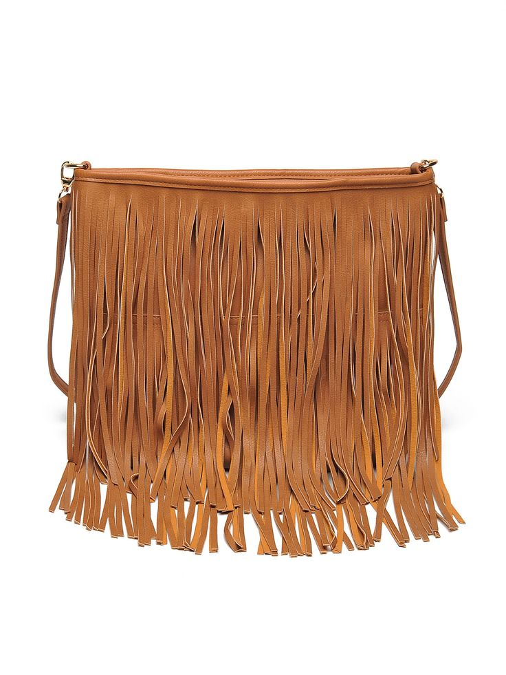 Top Secret brown casual bag with fringes, upper material: ecological leather, a compartment with internal pockets, women`s bag